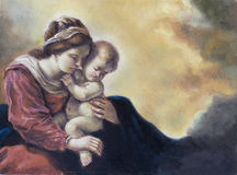Oil on canvas of a young woman and her baby Royalty Free Stock Images