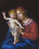 Oil on canvas of a young woman and her child Royalty Free Stock Photo