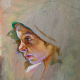 Oil on canvas of a young woman vector illustration