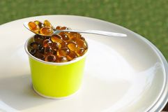 Oil capsule in dessert cup Royalty Free Stock Photography