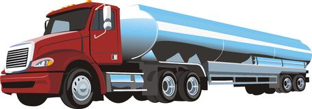Oil cargo. Middle truck with cistern for petrol Royalty Free Stock Photography