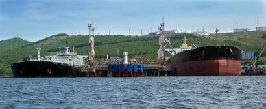 Oil-carrier in port for loading Stock Image