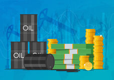 Oil cask, gold coins and piles of money. Business finance markets concept vector illustration. Oil cask, gold coins and piles of money. Business and finance Royalty Free Stock Photography