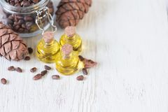 Oil of cedar nuts Royalty Free Stock Image