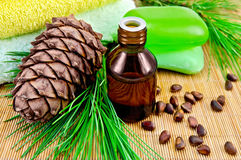 Oil cedar with pine cones and soap Stock Images