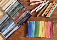 Oil chalks in box Stock Photos