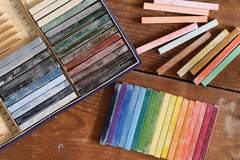 Oil chalks in box Royalty Free Stock Images