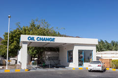 Oil Change service at a petrol station. In the United Arab Emirates stock photography