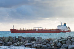 Oil chemical tanker  ship arrives in port Stock Photos