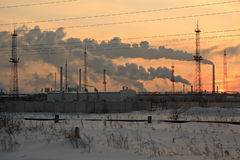 Oil Chemistry Refinery at sunset sky background in Stock Image