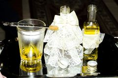 Oil and chrism. For the baptising process Stock Images