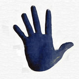 Oil color paint hand shape Royalty Free Stock Images