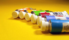 Oil colors 1. Oil colors tubes close up Royalty Free Stock Photos