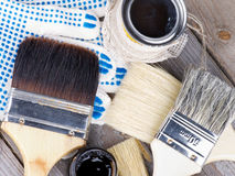 Oil Colors and Paint Brushes Royalty Free Stock Photo