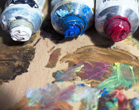 Oil colors for painting. Oil painting colors wallpaper cover Stock Photo