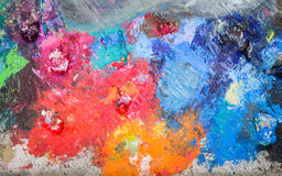 Oil colors on the palette Stock Images