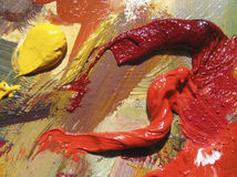 Oil colours. Texture of oil colours on canvas stock photo