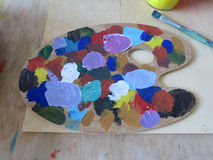 Oil colours palette Stock Image