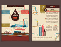 Oil company corporate flyer. Brochure flat design template face and back Royalty Free Stock Photography