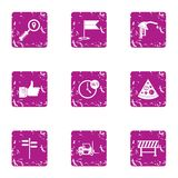 Oil company icons set, grunge style. Oil company icons set. Grunge set of 9 oil company vector icons for web isolated on white background Royalty Free Stock Photo