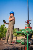Oil company worker on the well Royalty Free Stock Photos