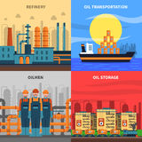 Oil Concept Icons Set. With refinery transportation and storage symbols flat  vector illustration Royalty Free Stock Photography