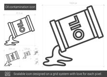 Oil contamination line icon. Oil contamination vector line icon isolated on white background. Oil contamination line icon for infographic, website or app Royalty Free Stock Images