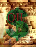 Oil and corporate greed. American Money, $ sign, gears and other elements Royalty Free Stock Photo