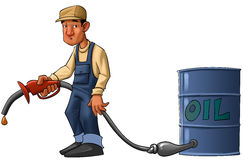 Oil crisis. Gas station worker with a pump without gas, just a drop Stock Photo