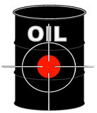 Oil crisis. Black oil barrel with crosshair target on it - vector Stock Image