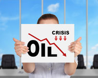 Oil crisis chart Royalty Free Stock Image