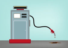 Oil Crisis Concept. Low Price of Gas. Gas Station with its Hose Going Down. Editable Clip Art stock illustration