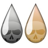 Oil Death Drop. Drop oil Symbol of iraq war with death skull icon inside stock illustration