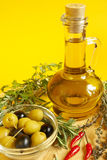 Oil decanter. With fresh olive oil Stock Images