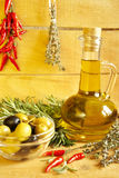 Oil decanter. With fresh olive oil Royalty Free Stock Photos