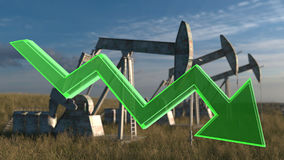 Oil decrease concept. Number of oil wells in the meadow. 3D render Stock Image