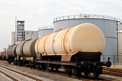 Oil depot and liquid train car Royalty Free Stock Image