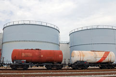 Oil depot and oil train cars stock photos