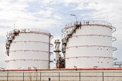Oil depot storage tanks Royalty Free Stock Photos