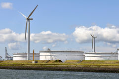 Oil depot with wind turbines Stock Photography