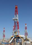 Oil derrick. On background of sky stock photo