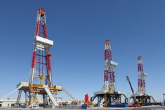 Oil derrick. On background of sky royalty free stock photo