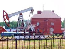 Oil derrick. Near the house in Bashkortostan stock image