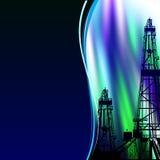 Oil derrick banner. Stock Photo