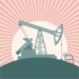 Oil derrick banner Royalty Free Stock Photos
