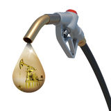 Oil-derrick in the drop weeping from fuel nozzle Royalty Free Stock Image