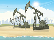Oil derrick industrial machine. Vector eps image royalty free illustration