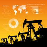 Oil derrick infographic. Stock Image
