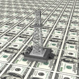 Oil derrick money power Royalty Free Stock Photos