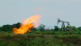Oil Derrick In The Nature stock footage